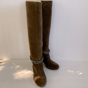 BCBG Suede Knee-high Wedge Boots Sz.8